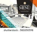 restaurant menu design. vector... | Shutterstock .eps vector #583350598