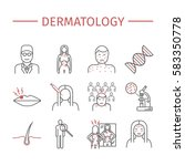 dermatology. line icons set.... | Shutterstock .eps vector #583350778