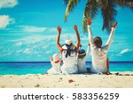 happy family with two kids... | Shutterstock . vector #583356259