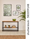 room with plant motives and... | Shutterstock . vector #583359148
