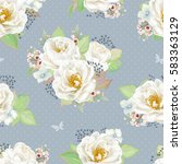 seamless pattern with white... | Shutterstock .eps vector #583363129