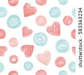 seamless pattern with hearts on ... | Shutterstock .eps vector #583363234