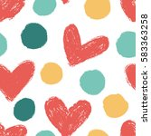 seamless pattern with polka... | Shutterstock .eps vector #583363258
