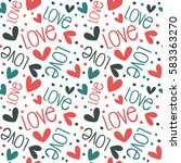 romantic pattern with hearts.... | Shutterstock .eps vector #583363270