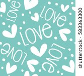 seamless pattern with hearts on ... | Shutterstock .eps vector #583363300