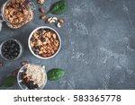 breakfast with muesli ... | Shutterstock . vector #583365778