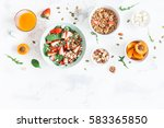 breakfast with muesli ... | Shutterstock . vector #583365850