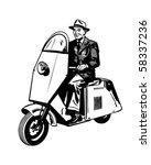 Man Riding Scooter   Retro Clip ...