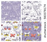 Set Of Seamless Pattern With...