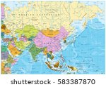 asia political map with rivers  ... | Shutterstock .eps vector #583387870