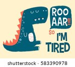 tired dinosaur illustration... | Shutterstock .eps vector #583390978
