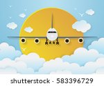 airplane's with clouds on sky... | Shutterstock .eps vector #583396729