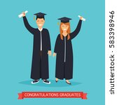 boy and girl graduates.vector... | Shutterstock .eps vector #583398946