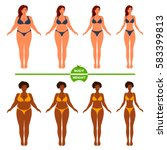 women's body before and after... | Shutterstock .eps vector #583399813