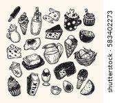 hand drawn set of vector dairy... | Shutterstock .eps vector #583402273