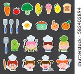 vector illustration set of chef ... | Shutterstock .eps vector #583402894