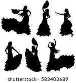 flamenco dancer silhouette set. | Shutterstock .eps vector #583403689