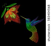 embroidery hummingbird  exotic... | Shutterstock .eps vector #583404568