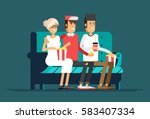 young friends watching a movie. ...   Shutterstock .eps vector #583407334