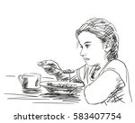 thoughtful little girl eating... | Shutterstock .eps vector #583407754
