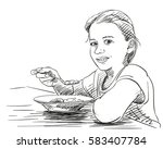 girl eating food with spoon... | Shutterstock .eps vector #583407784