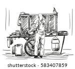 woman preparing dish at asian... | Shutterstock .eps vector #583407859
