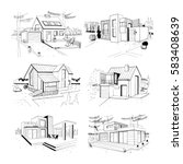 hand drawn cottage. modern... | Shutterstock .eps vector #583408639