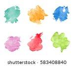 watercolor spots set. realistic ... | Shutterstock .eps vector #583408840