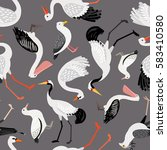 seamless pattern with birds ... | Shutterstock .eps vector #583410580