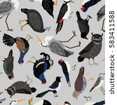 seamless pattern with birds ... | Shutterstock .eps vector #583411588