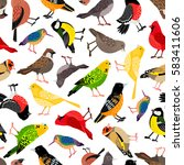 seamless pattern with birds  | Shutterstock .eps vector #583411606