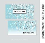 spring blossom invitation card... | Shutterstock .eps vector #583419100