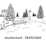 park graphic black white bench... | Shutterstock .eps vector #583421860