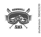 vintage ski and arctic... | Shutterstock .eps vector #583423150