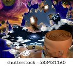 surreal painting. endless... | Shutterstock . vector #583431160
