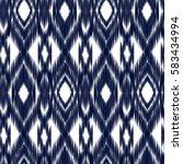 blue ikat ogee seamless... | Shutterstock .eps vector #583434994