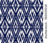 blue ikat ogee seamless... | Shutterstock .eps vector #583435018