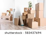 packed household stuff for... | Shutterstock . vector #583437694