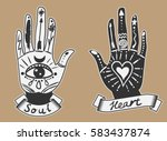 ornate hands with sacred... | Shutterstock .eps vector #583437874