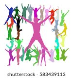 team achievement people jumping  | Shutterstock .eps vector #583439113