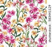 seamless floral pattern of... | Shutterstock . vector #583441129