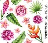 seamless pattern of watercolor... | Shutterstock . vector #583442254