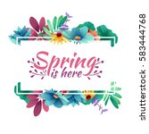 Design banner with  spring is here logo. Card for spring season with white frame and herb. Promotion offer with spring plants, leaves and flowers decoration.  Vector | Shutterstock vector #583444768