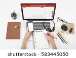 business hand typing on a... | Shutterstock . vector #583445050