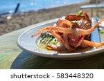 mediterranean cuisine. sea food.... | Shutterstock . vector #583448320