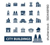 city buildings icons | Shutterstock .eps vector #583448980