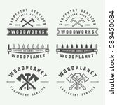 set of vintage carpentry ...   Shutterstock .eps vector #583450084