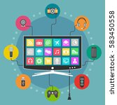smart tv flat design. modern... | Shutterstock .eps vector #583450558