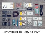 flat lay of electronic and... | Shutterstock . vector #583454404