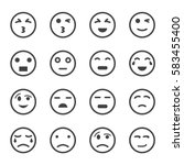 emoticon icon vector set | Shutterstock .eps vector #583455400